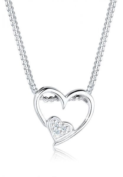 Elli PREMIUM Halskette Herz Liebe Diamant (0.015 ct.) 925 Sterling Silber