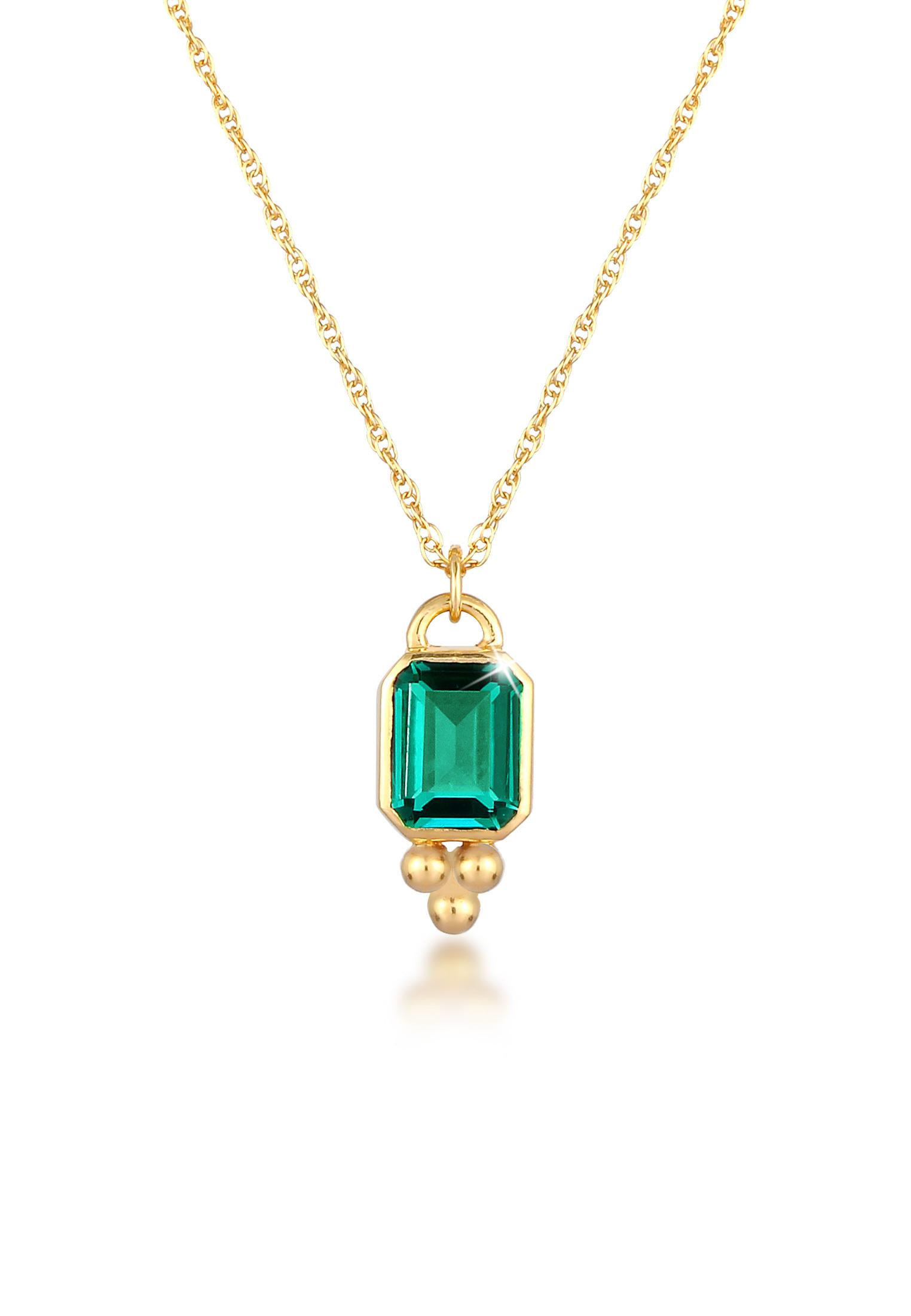 Halskette   Quarz ( Grün )   925 Sterling Silber vergoldet