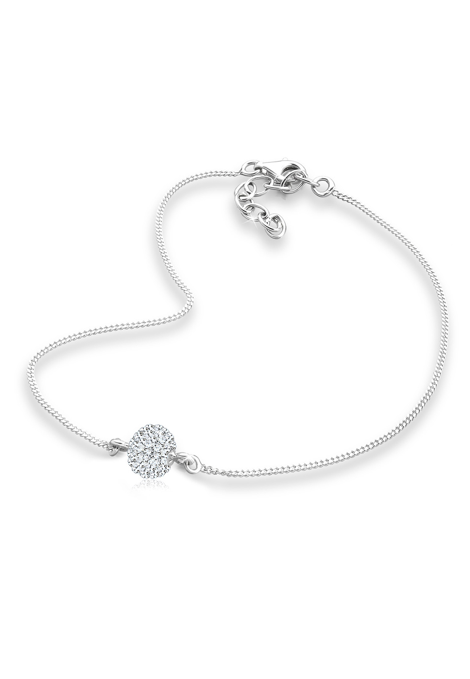 Fußkettchen Kugel | Kristall ( Weiß ) | 925er Sterling Silber