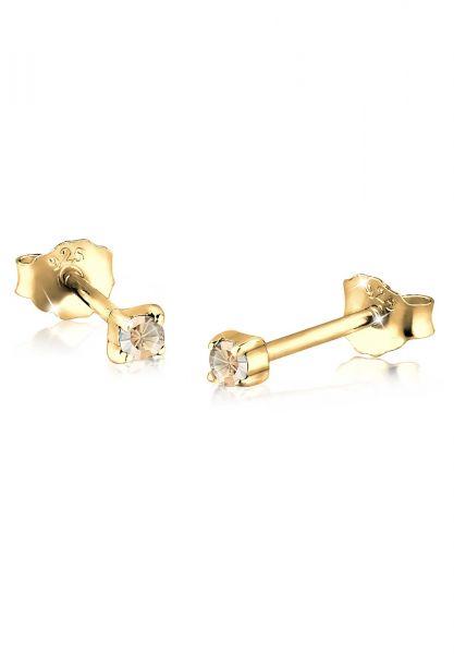 Ohrstecker | Kristall ( Gold ) | 925 Sterling Silber vergoldet