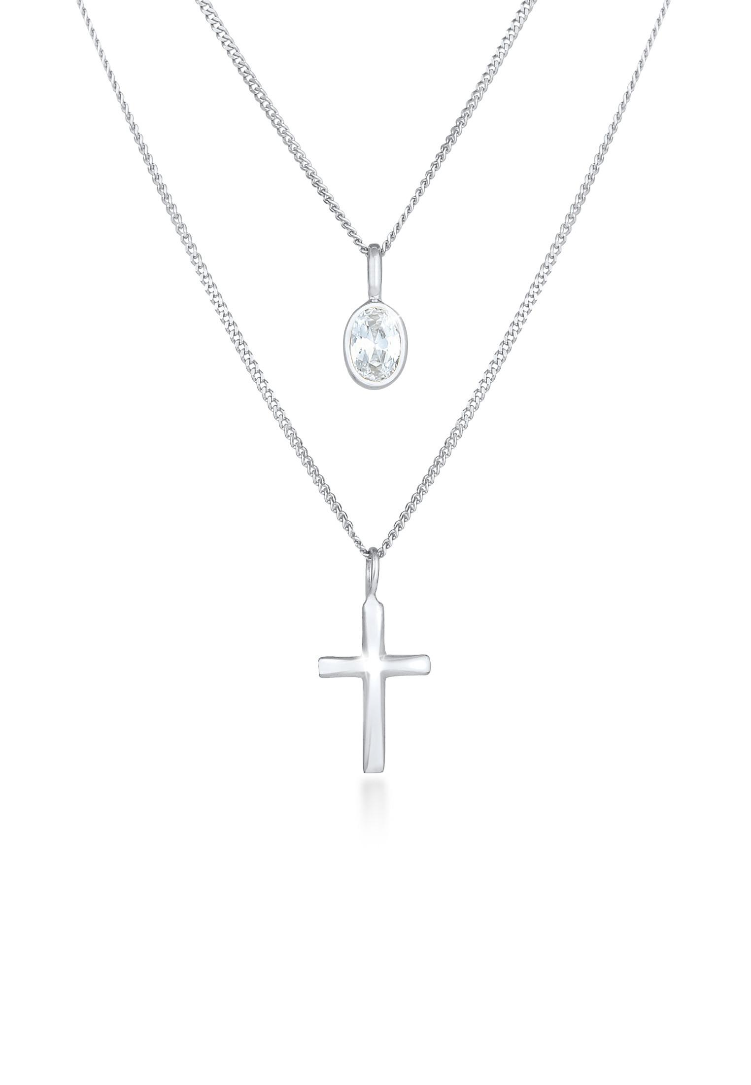 Layer-Halskette Kreuz | Zirkonia ( Weiß ) | 925er Sterling Silber