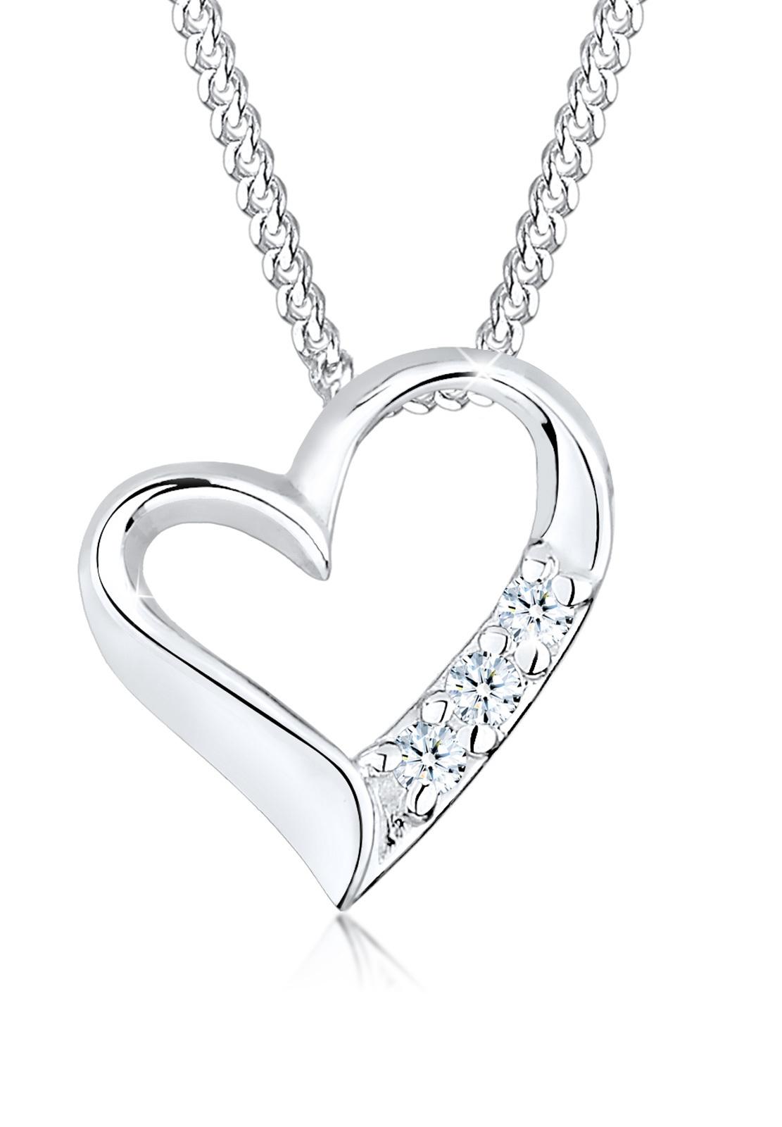Halskette Herz | Diamant ( Weiß, 0,045 ct ) | 925er Sterling Silber