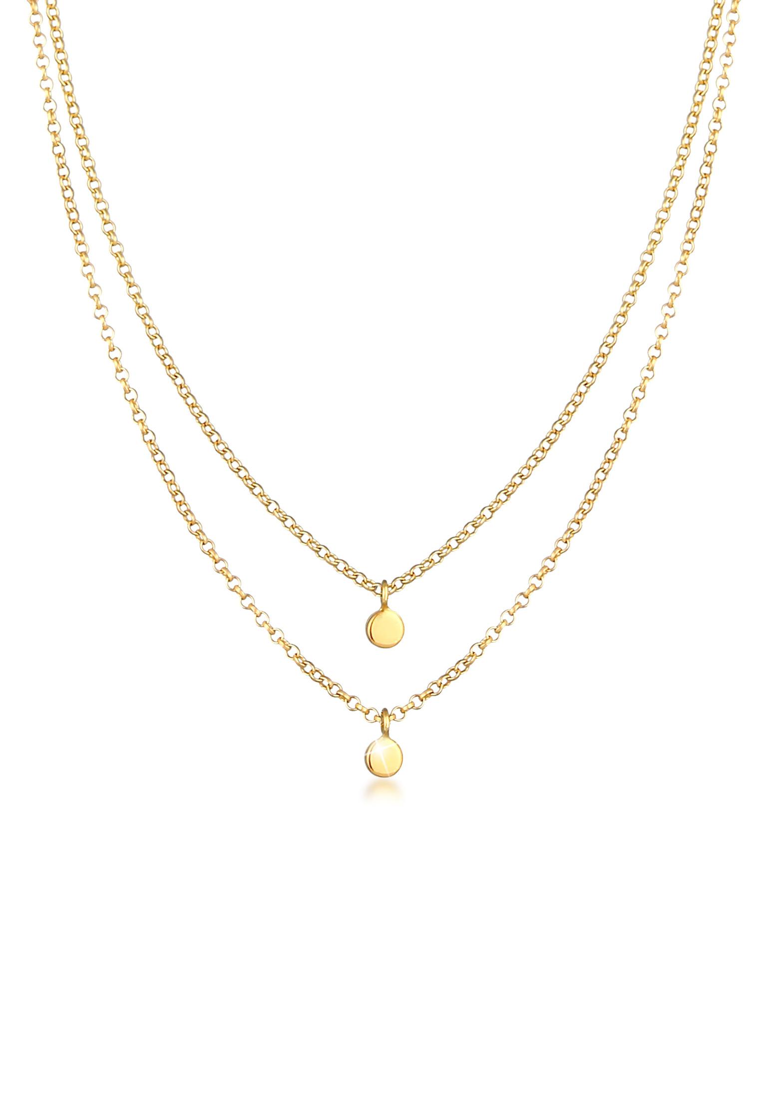 Layer-Halskette Geo | 375 Gelbgold
