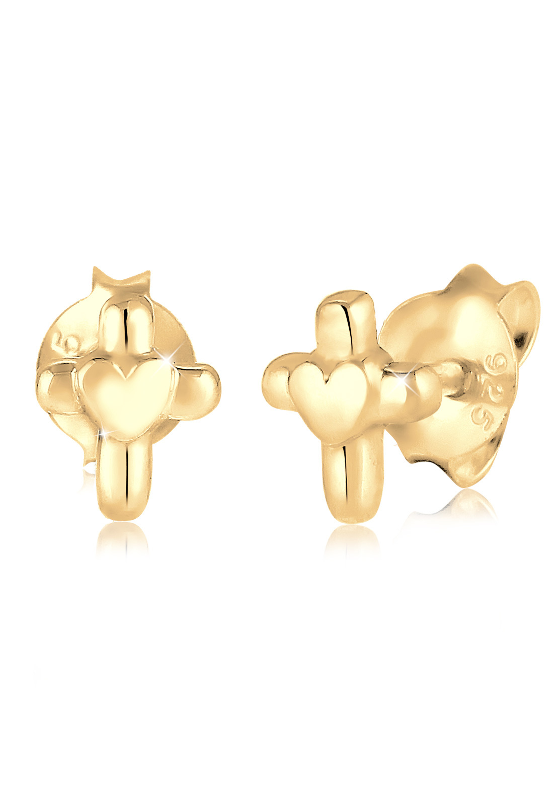 Ohrring Herz   925 Sterling Silber vergoldet