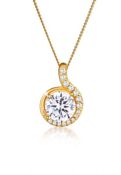 Elli PREMIUM Halskette Tropfen Zirkonia 585 Gelbgold