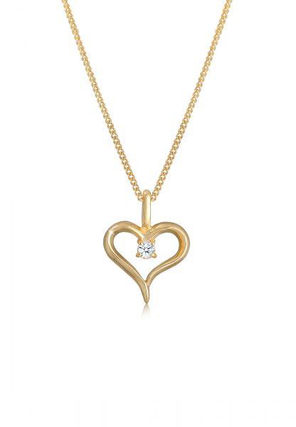 DIAMORE Halskette Herz Zart Diamant (0.02 ct.) 585 Gelbgold