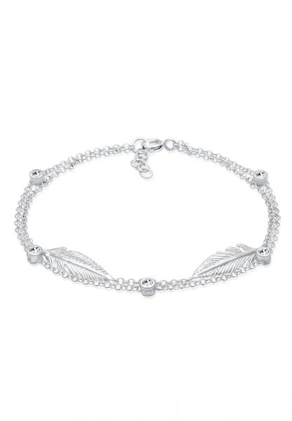 Elli Armband Feder Layer Kristalle 925er Silber