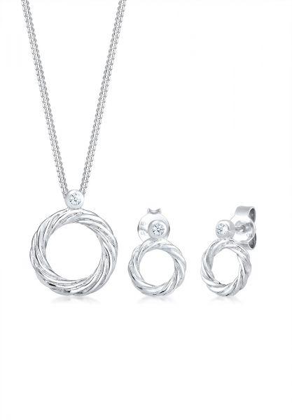 DIAMORE Schmuckset Twisted Liebe Diamant (0.045ct)925 Sterling Silber