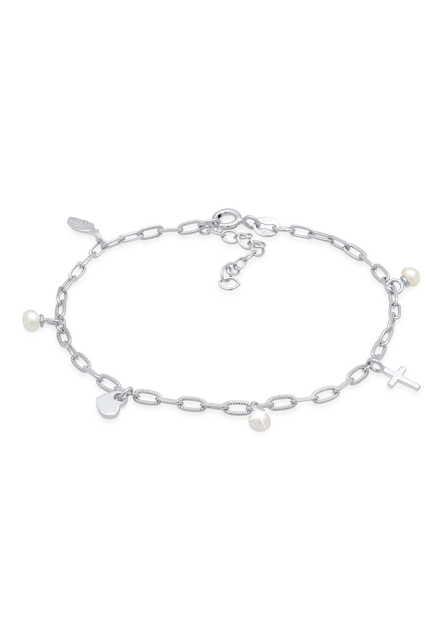 Armband Kreuz Feder Herz | Perle | 925er Sterling Silber