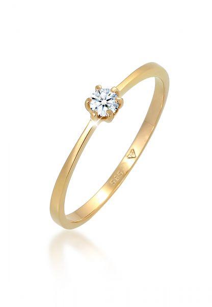 Solitär-Ring   Diamant ( Weiß, 0,11 ct )   585 Gelbgold