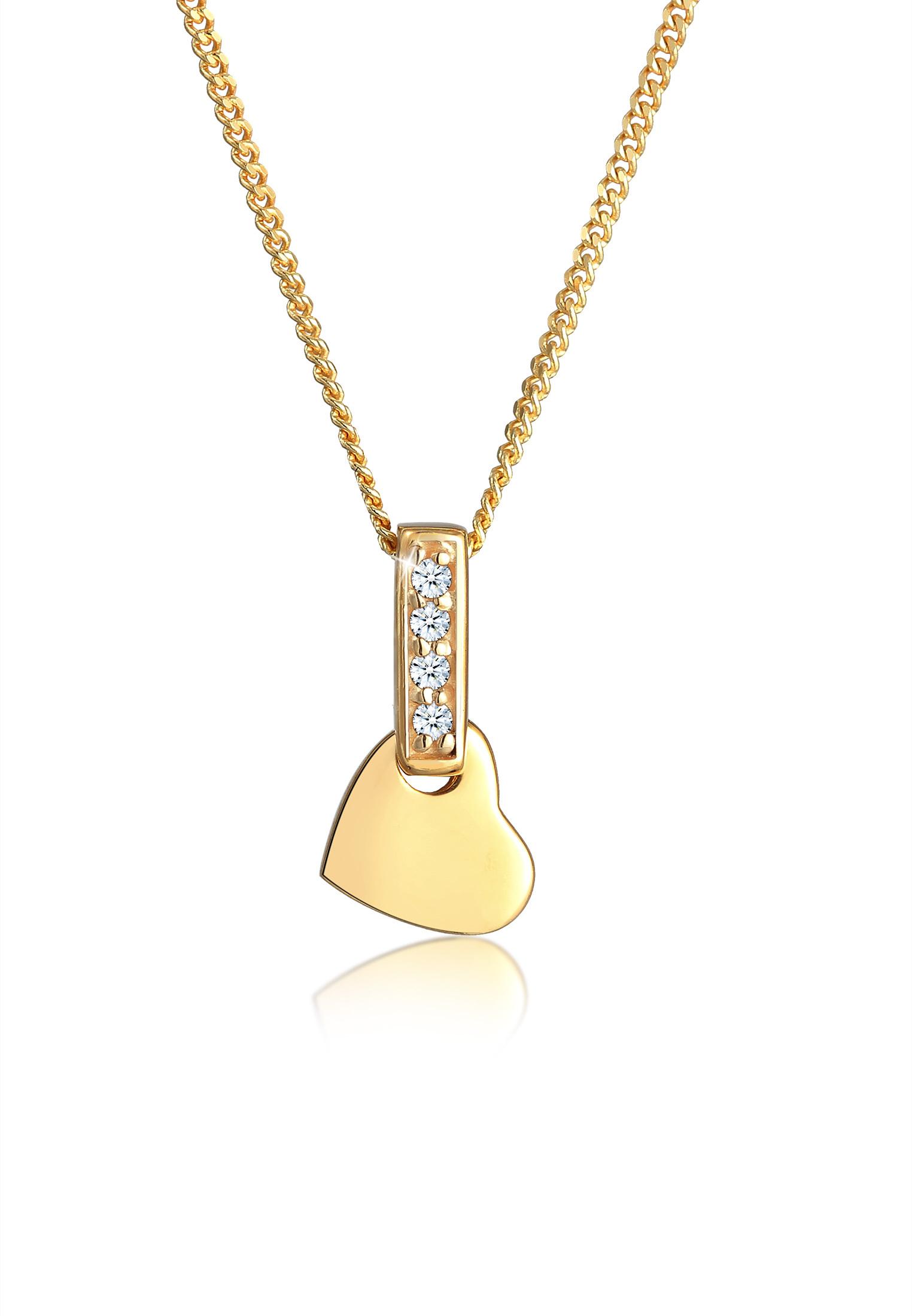 Halskette Herz | Diamant ( Weiß, 0,02 ct ) | 585 Gelbgold