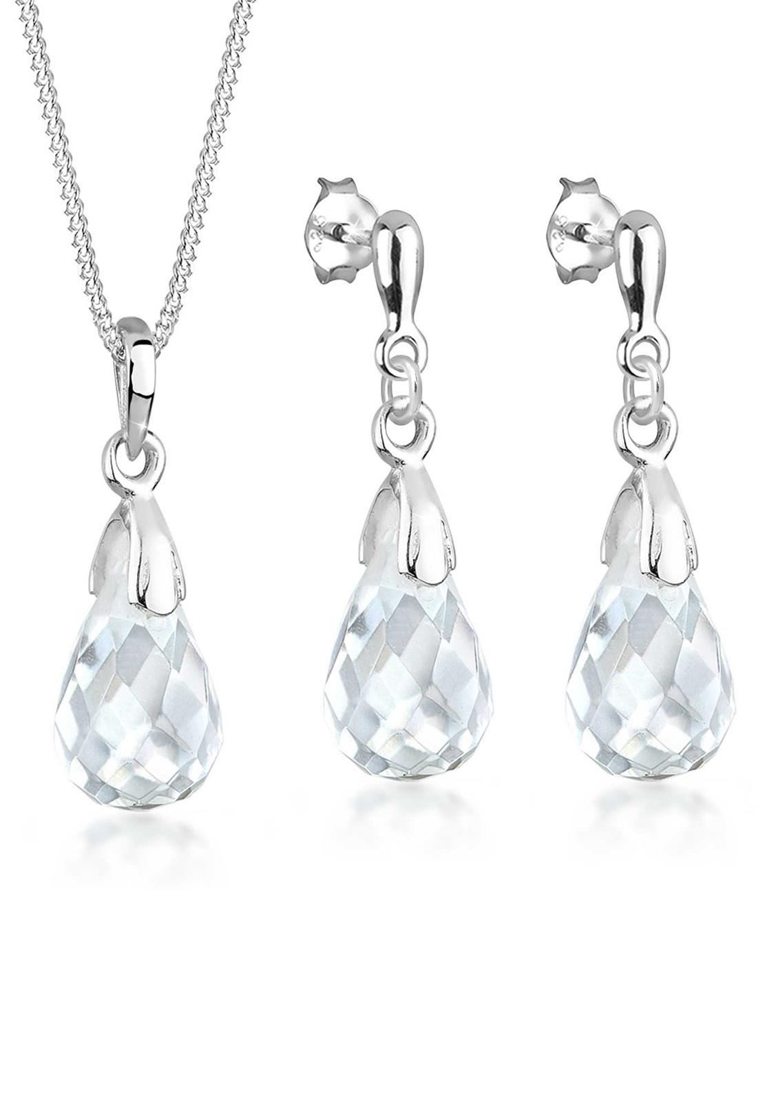 Schmuckset Tropfen | Kristall ( Weiß ) | 925er Sterling Silber