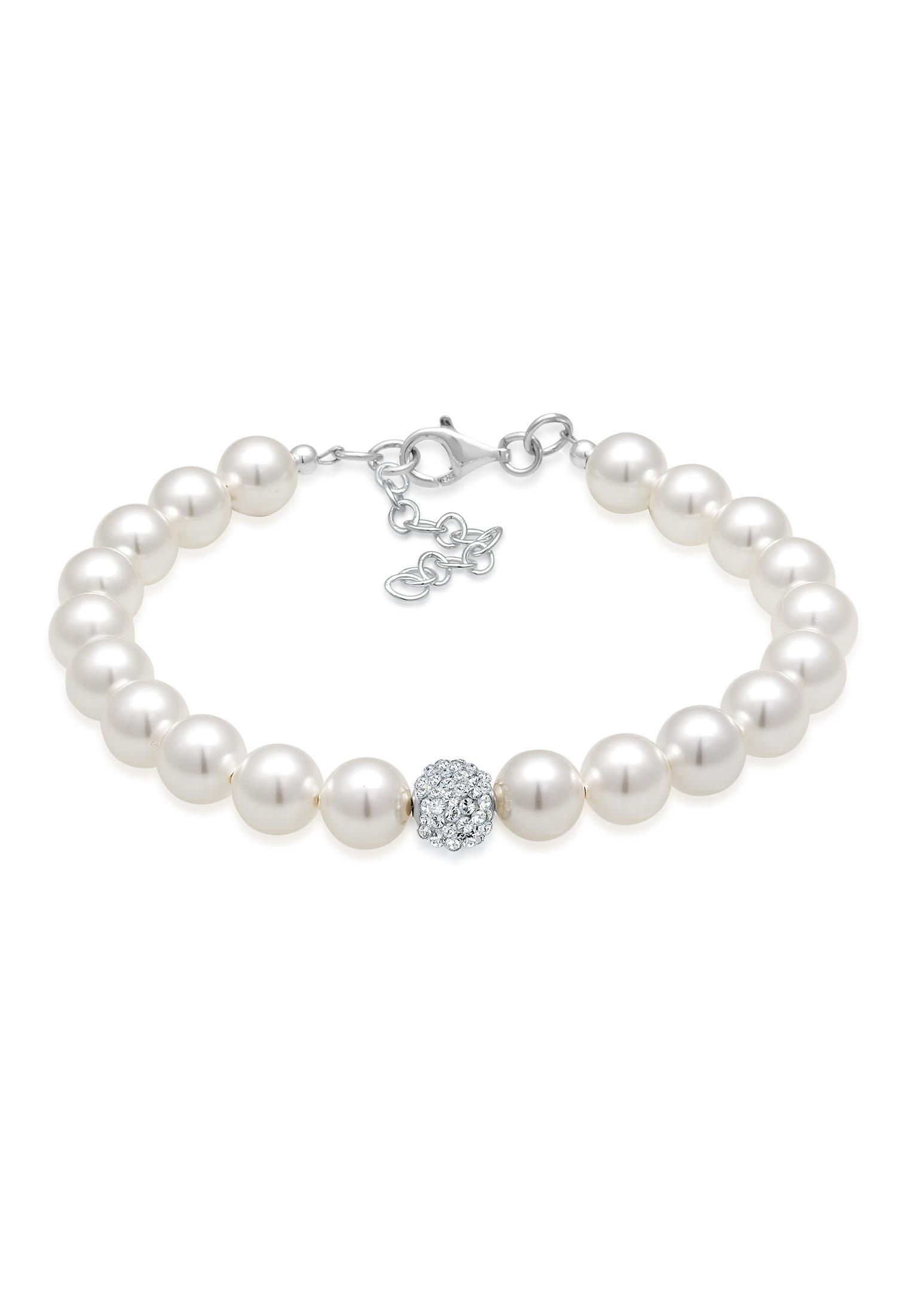 Glieder-Armband Kugel | Kristall ( Weiß ) | 925er Sterling Silber