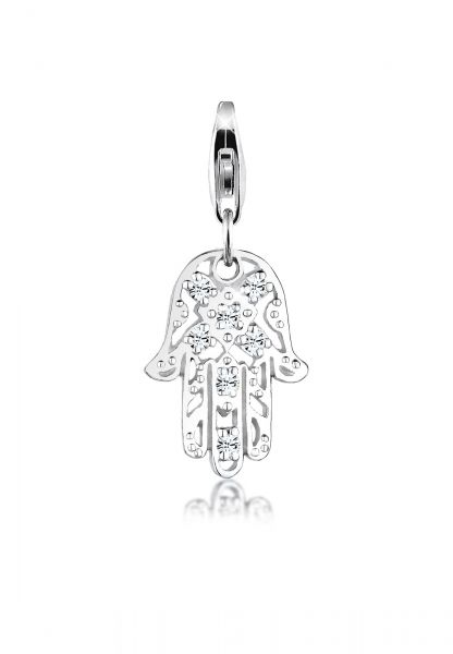 Charm Hamsa Hand | Kristall ( Weiß ) | 925er Sterling Silber