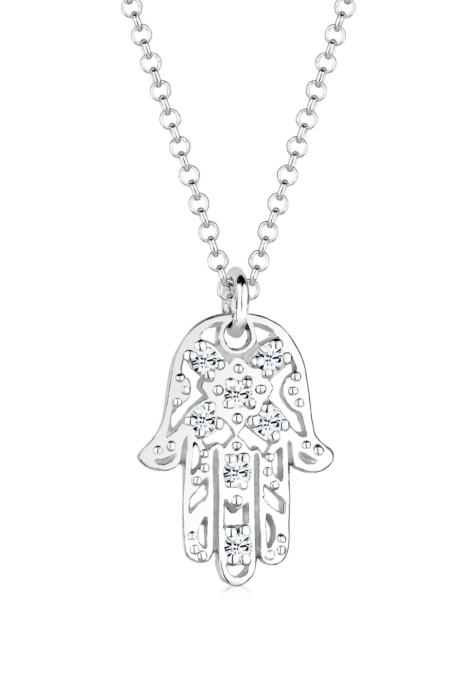 Halskette Hamsa Hand   Kristall ( Weiß )   925er Sterling Silber