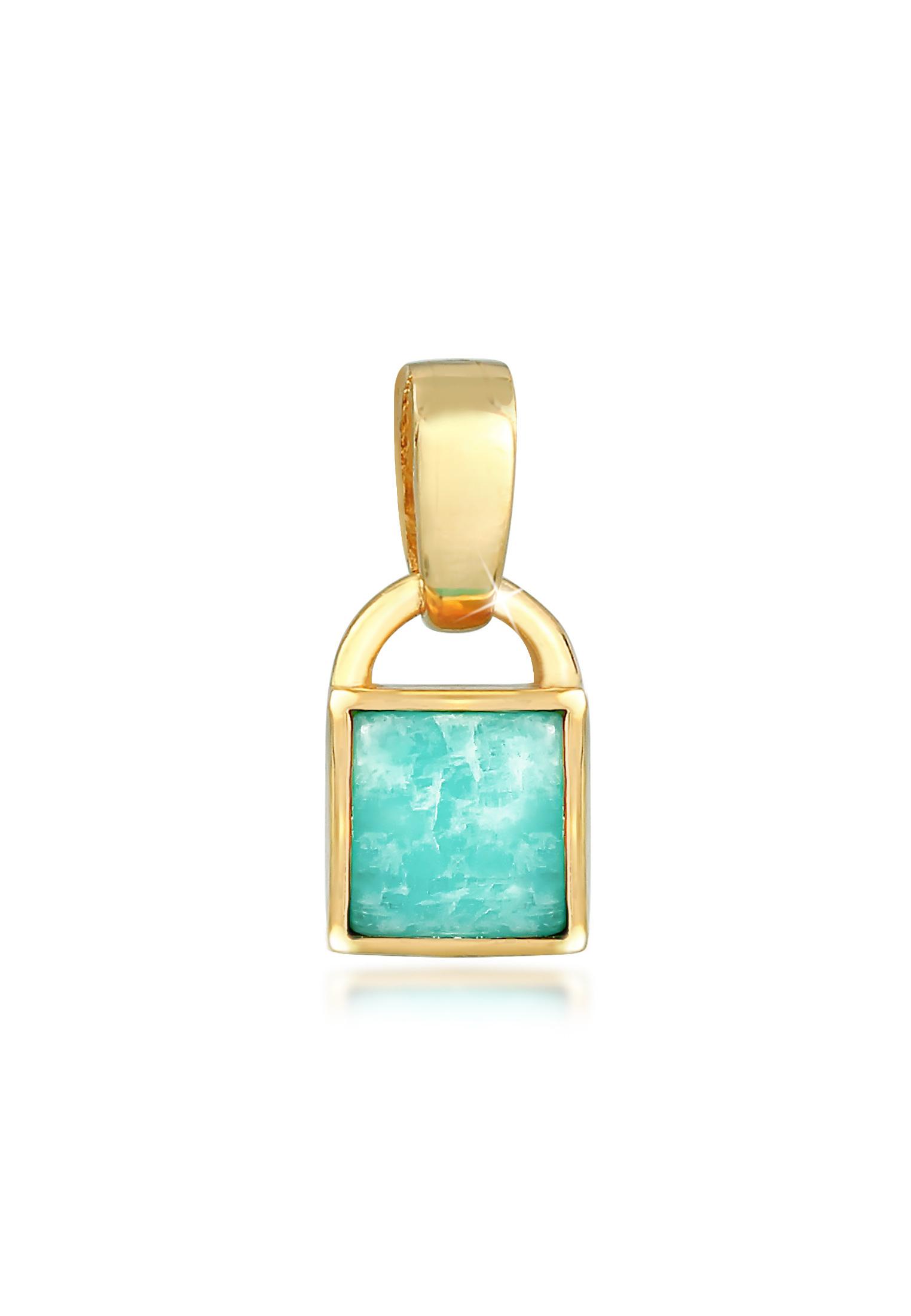 Anhänger | Amazonit ( Blau ) | 925 Sterling Silber vergoldet