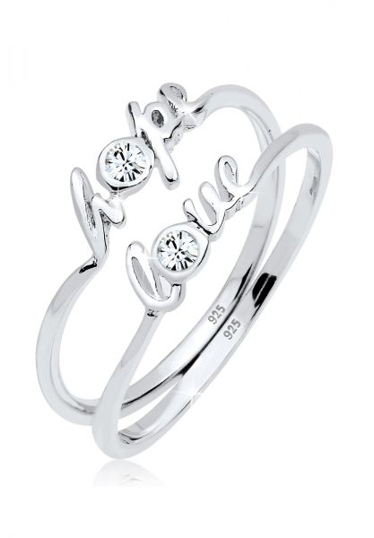 Elli Ring Hope Love Kristalle 925er Silber