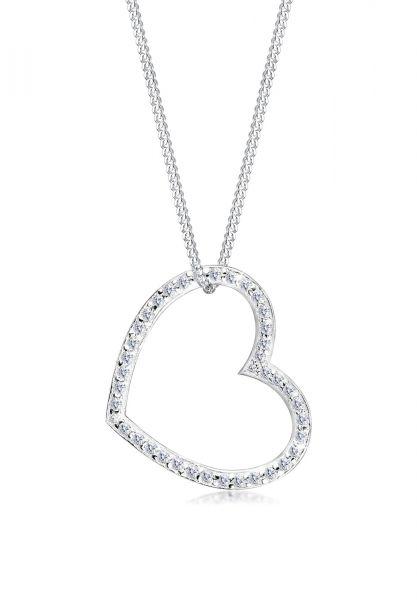 Elli Halskette Herz-Form Zirkonia 925 Sterling Silber