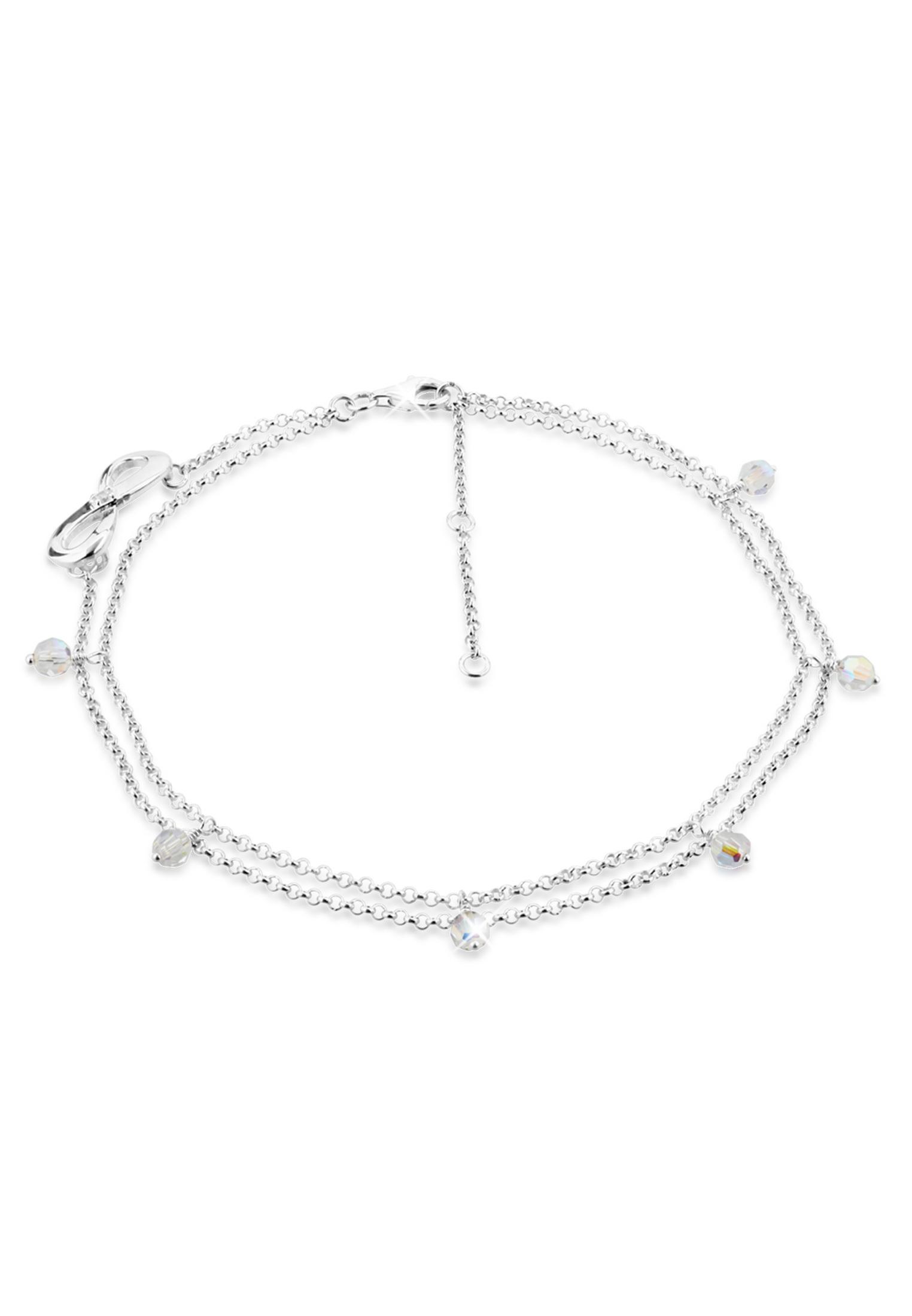 Fußkettchen Infinity | Kristall ( Weiß ) | 925er Sterling Silber