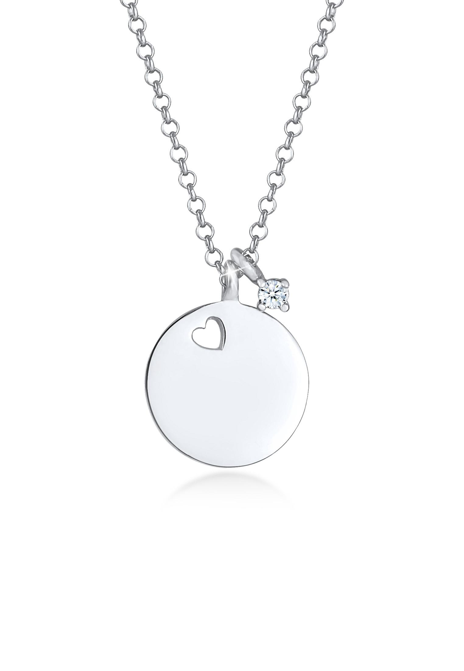 Halskette Herz   Diamant ( Weiß, 0,03 ct )   925er Sterling Silber