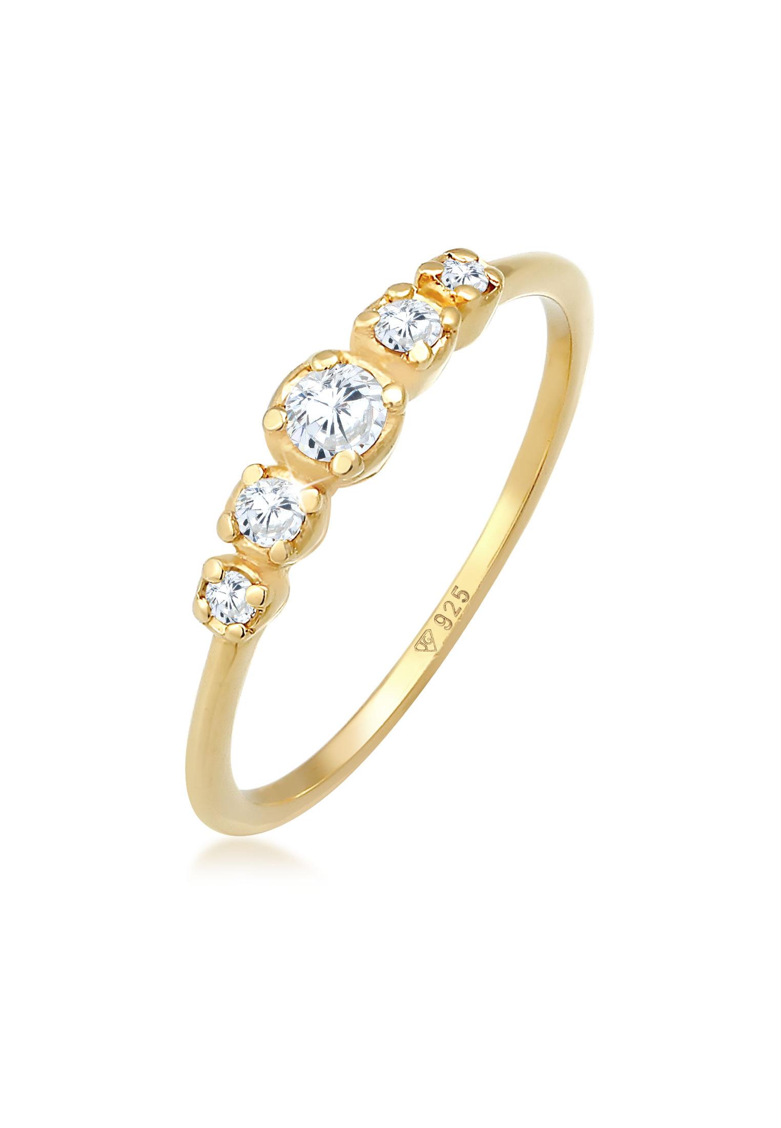 Verlobungsring   Zirkonia ( Weiß )   925 Sterling Silber vergoldet