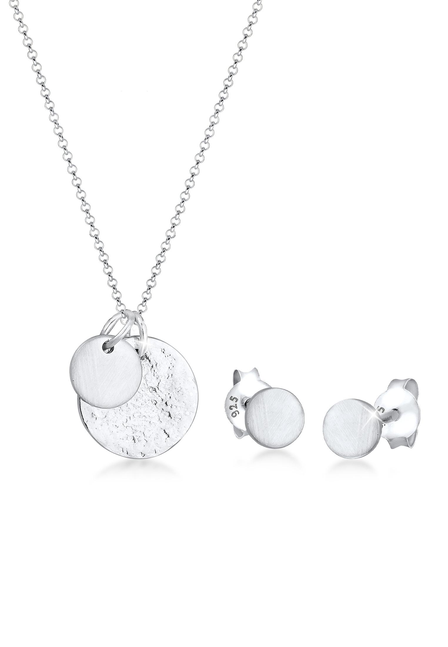 Schmuckset Plättchen Organic   925er Sterling Silber