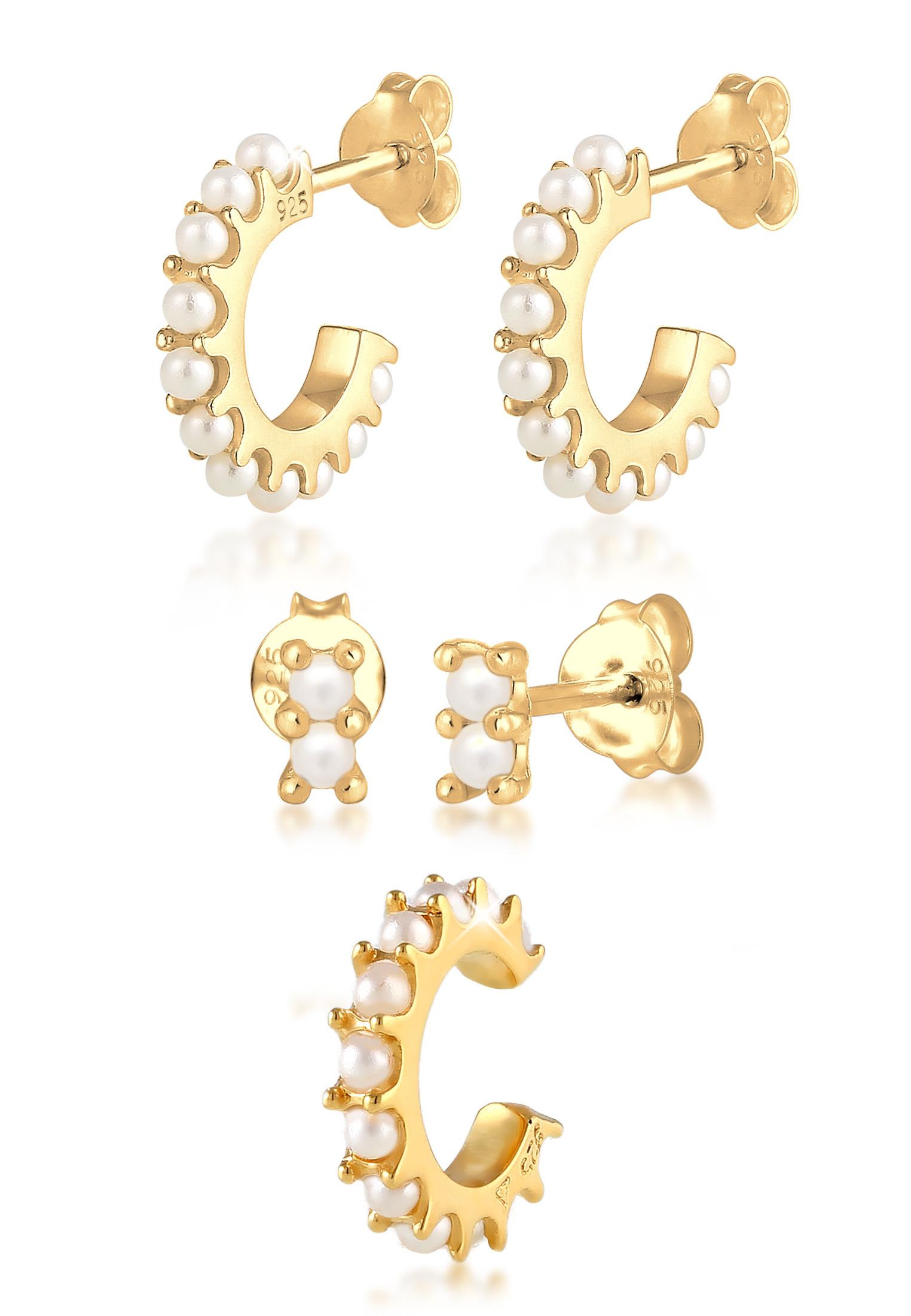 Ohrringset | Perle | 925 Sterling Silber vergoldet