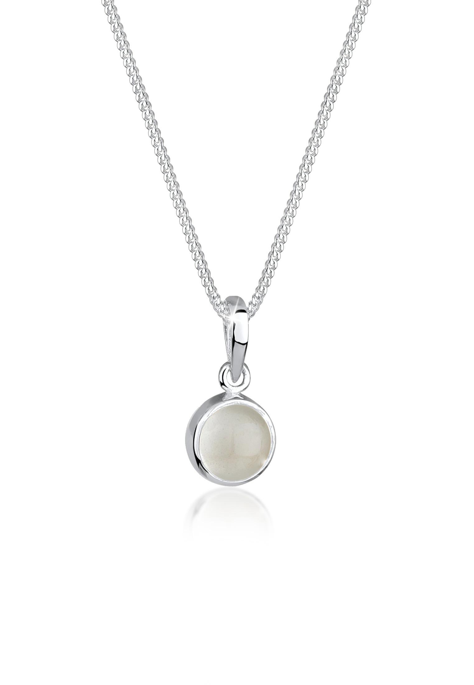 Halskette | Mondstein ( Weiß ) | 925er Sterling Silber