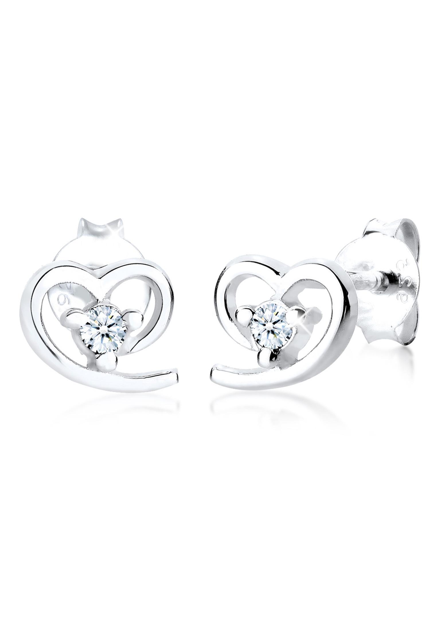 Ohrstecker Herz | Diamant ( Weiß, 0,06 ct ) | 925er Sterling Silber