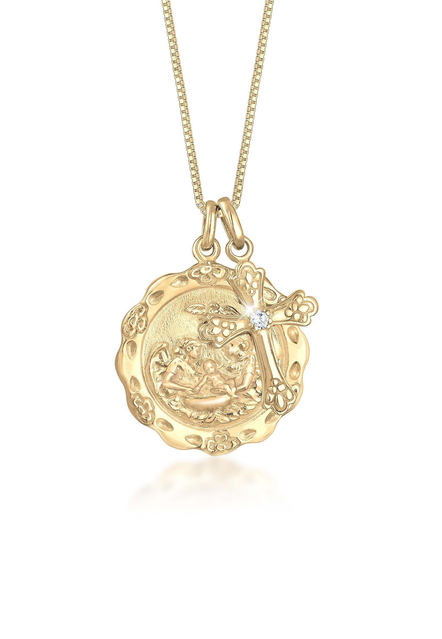 Lange Venezianer-Halskette Kreuz | Zirkonia ( Weiß ) | 925 Sterling Silber vergoldet