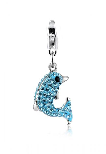 Charm Delfin | Kristall ( Hellblau ) | 925er Sterling Silber