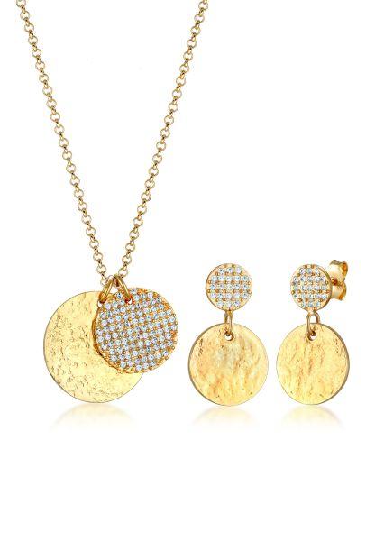 Schmuckset Geo   Kristall ( Weiß )   925 Sterling Silber vergoldet