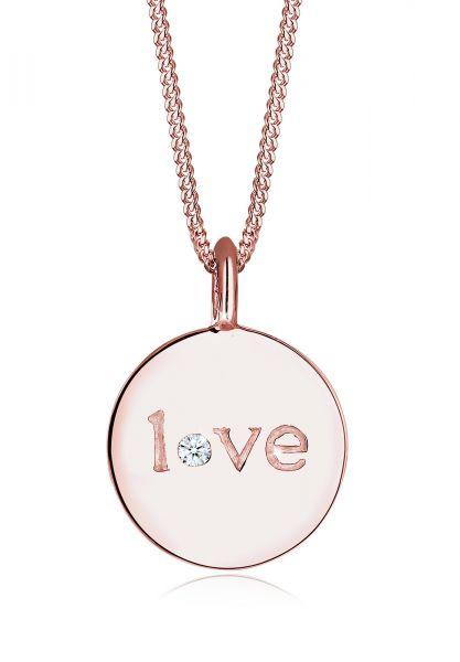 Elli PREMIUM Halskette Love-Schriftzug Diamant 925 Sterling Silber