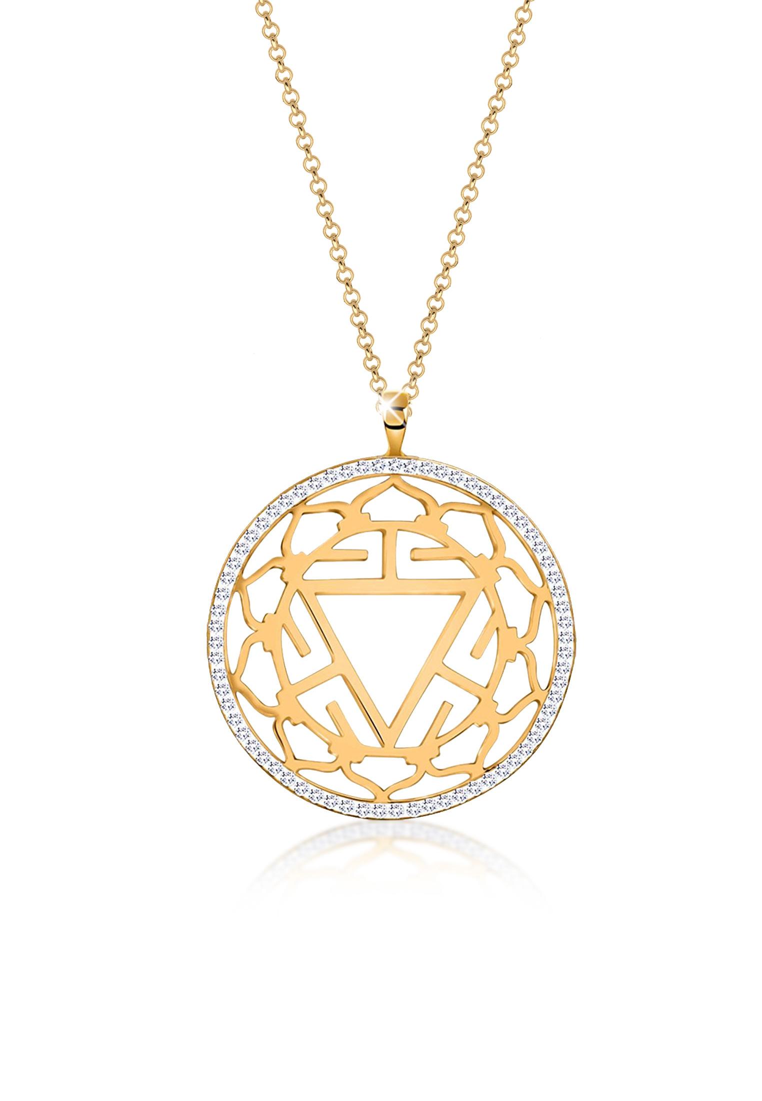 Lange Halskette Chakra   Kristall ( Weiß )   925er Sterling Silber