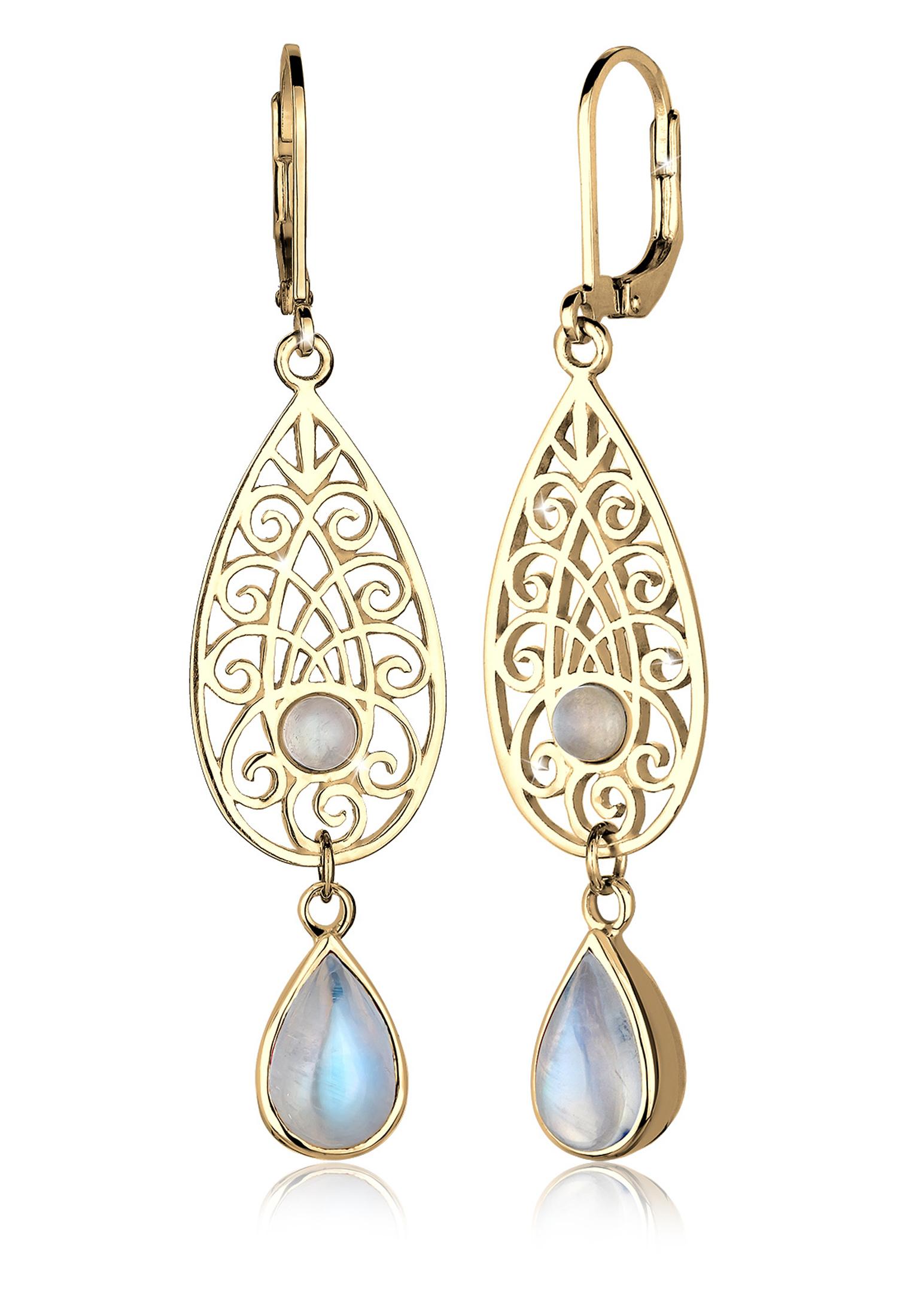 Ohrhänger Ornament | Mondstein ( Weiß ) | 925 Sterling Silber vergoldet