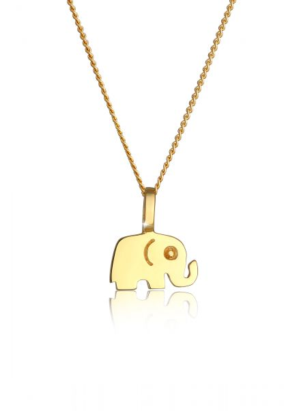 Elli PREMIUM Halskette 585 Gelbgold Elefant