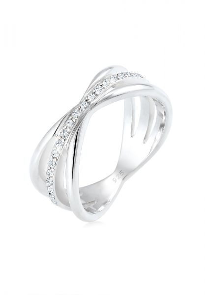 Elli PREMIUM Ring Wickelring Blogger Kristalle 925 Silber