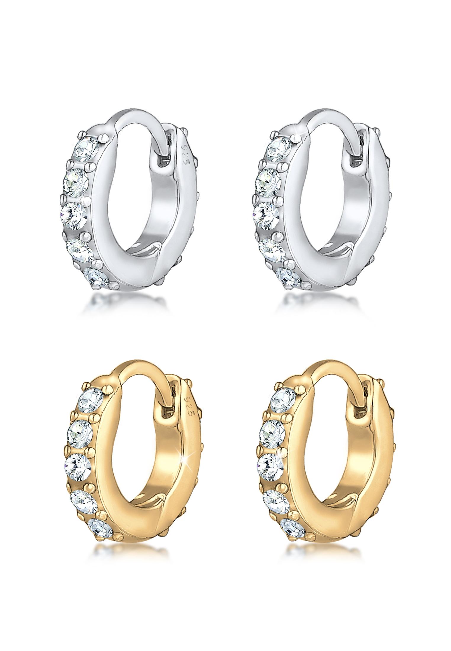Ohrringset   Kristall ( Weiß )   925 Sterling Silber vergoldet