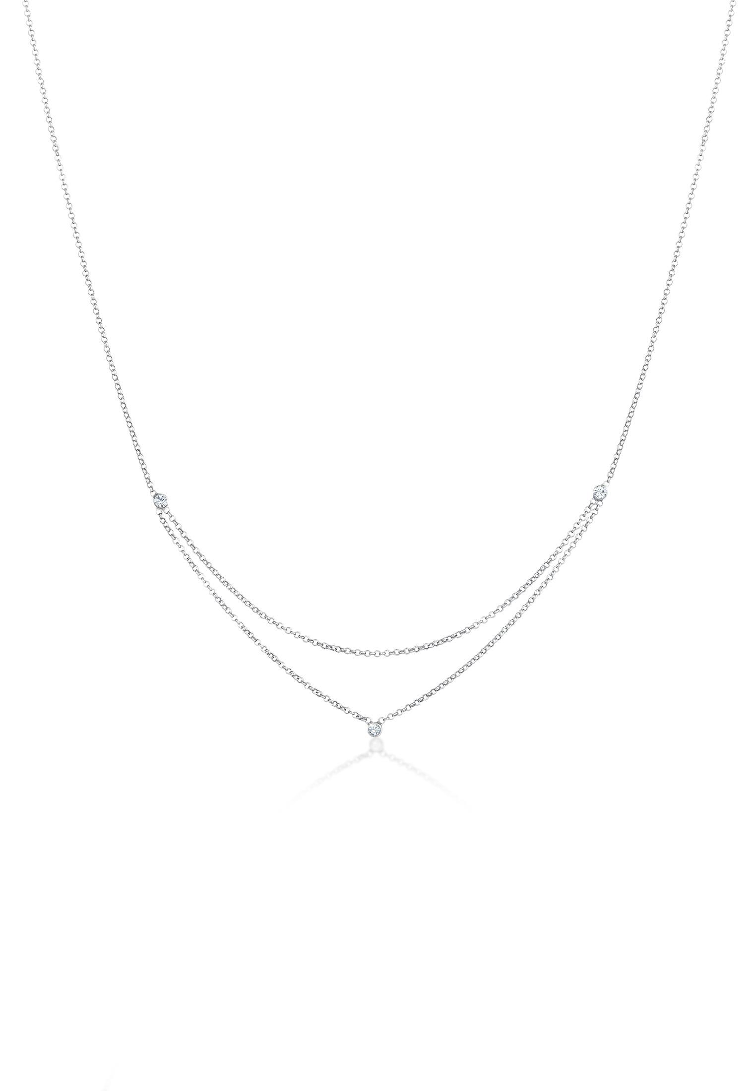 Halskette Layer Look | Kristall ( Weiß ) | 925er Sterling Silber