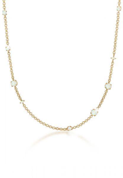 Elli PREMIUM Halskette Erbskette Synthetischer Opal Stein 925 Silber