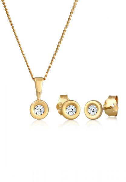 Schmuckset | Diamant ( Weiß, 0,23 ct ) | 585 Gelbgold