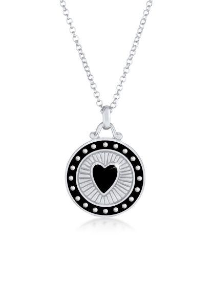 Halskette Herz Münze | Emaille | 925er Sterling Silber