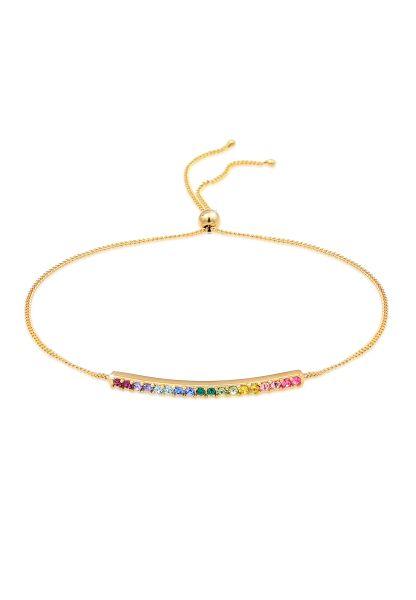 Armband   Kristall ( Rosa )   925 Sterling Silber vergoldet