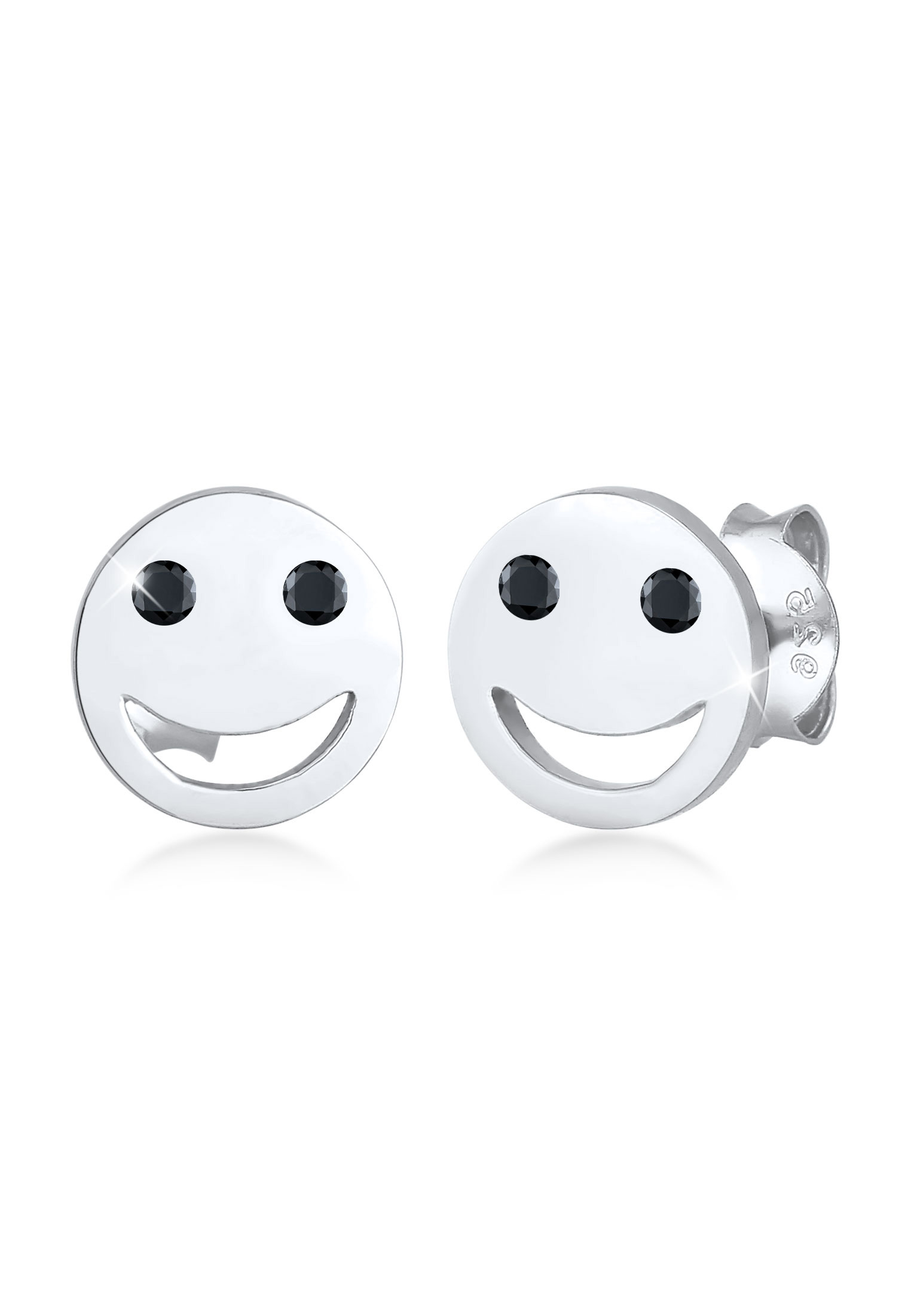 Ohrstecker Smiley | Zirkonia ( Schwarz ) | 925er Sterling Silber