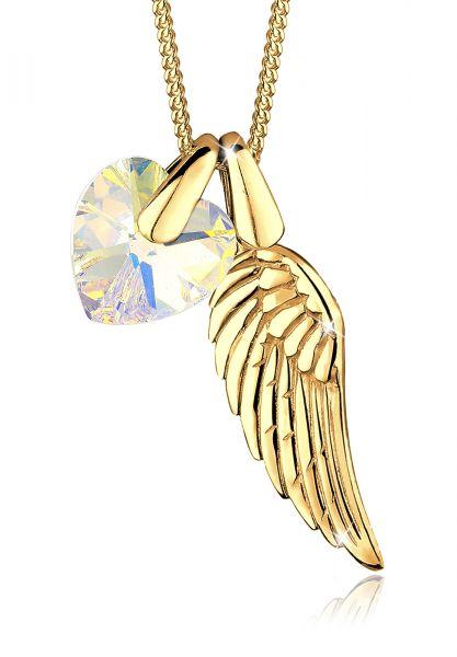 Halskette Flügel   Kristall ( Weiß )   925 Sterling Silber vergoldet