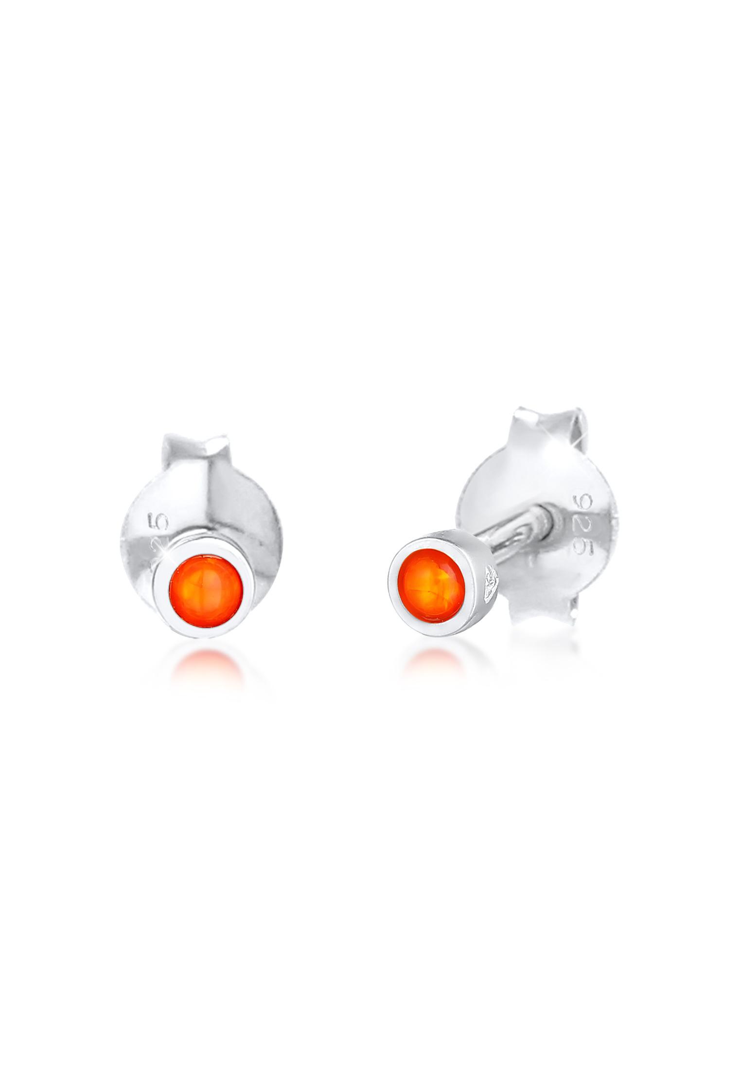 Ohrstecker   Opal ( Orange )   925er Sterling Silber