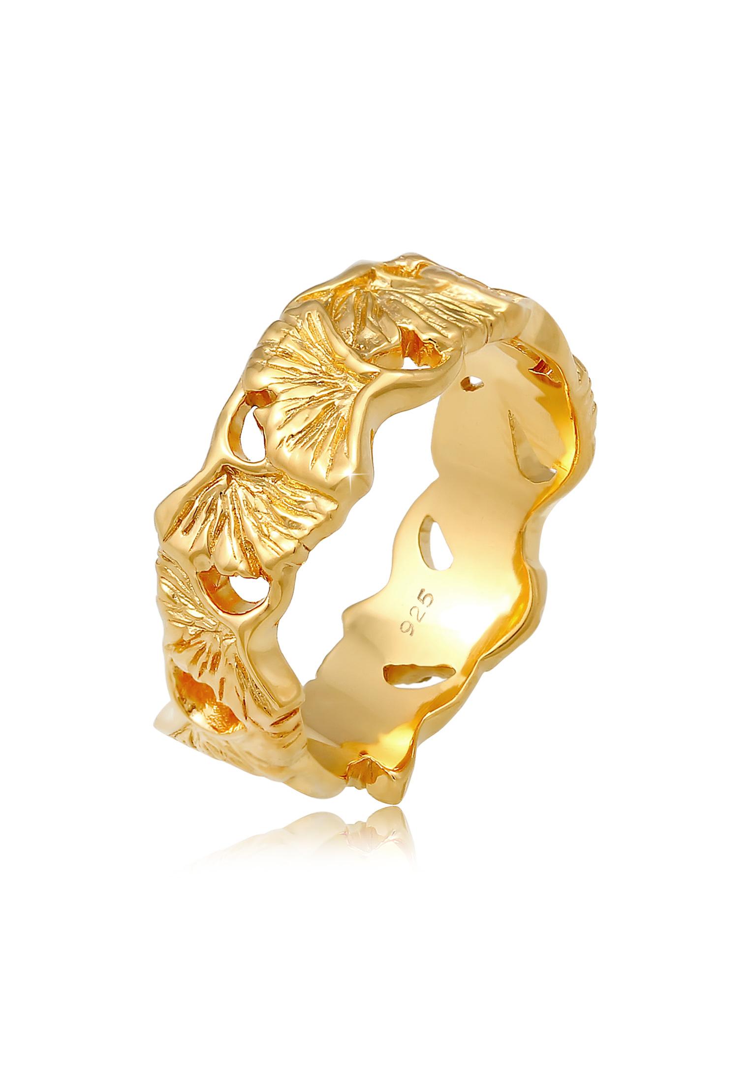 Ring Ginkgo | 925 Sterling Silber vergoldet