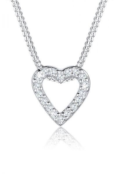 Halskette Herz | Zirkonia ( Weiß ) | 925er Sterling Silber
