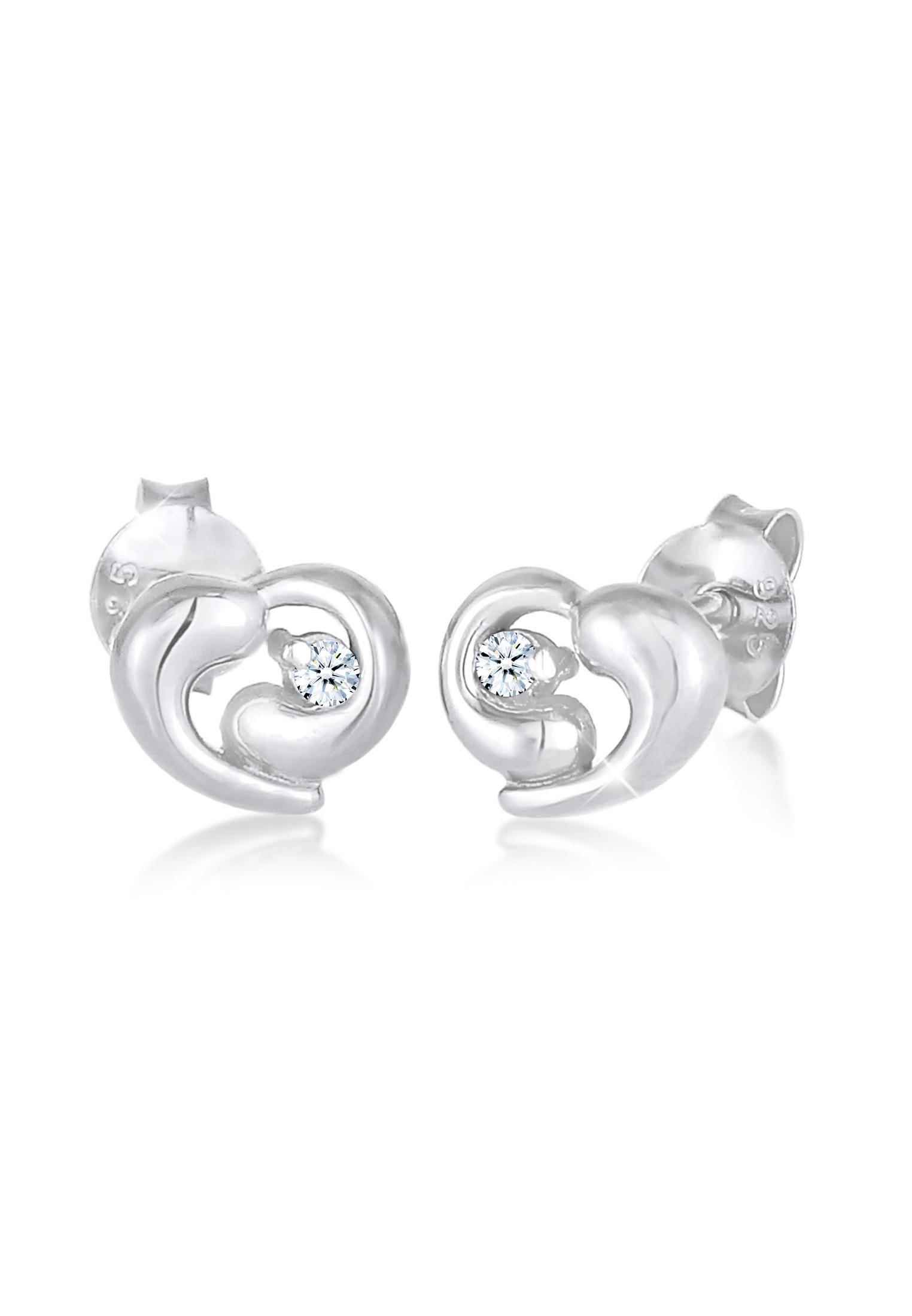 Ohrstecker Herz | Diamant ( Weiß, 0,03 ct ) | 925er Sterling Silber