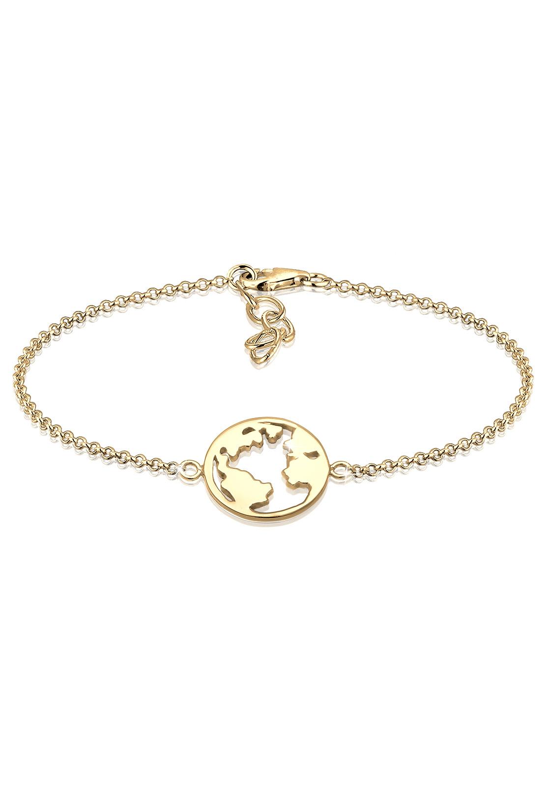 Armband Weltkugel | 925 Sterling Silber vergoldet